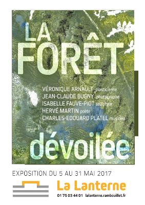 """Affiche de l'exposition """"La Forêt dévoilée"""" qui s'est tenue du 5 au 31 mai 2017 au centre d'art contemporain La Lanterne à Rambouillet"""