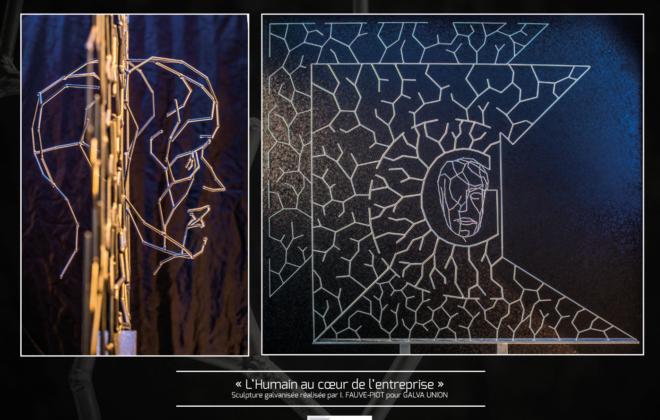 """""""L'humain au cœur de l'entreprise"""" est une sculpture réalisée par Isabelle FAUVE-PIOT pour la société GALVA UNION"""