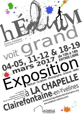 Affiche de l'exposition Hélium voit grand à La Chapelle à Clairefontaine en Yvelines
